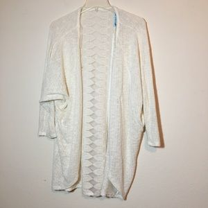 Sweaters - 3/$30 Cream open front sweater lace panel